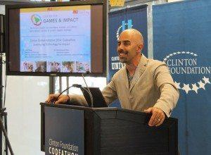 Executive Director Sasha Barab talks codeathon participants through principles for designing technology social impact.