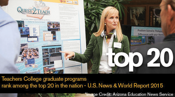 ASU Teachers College graduate programs rank among the top 20 education graduate programs nationally