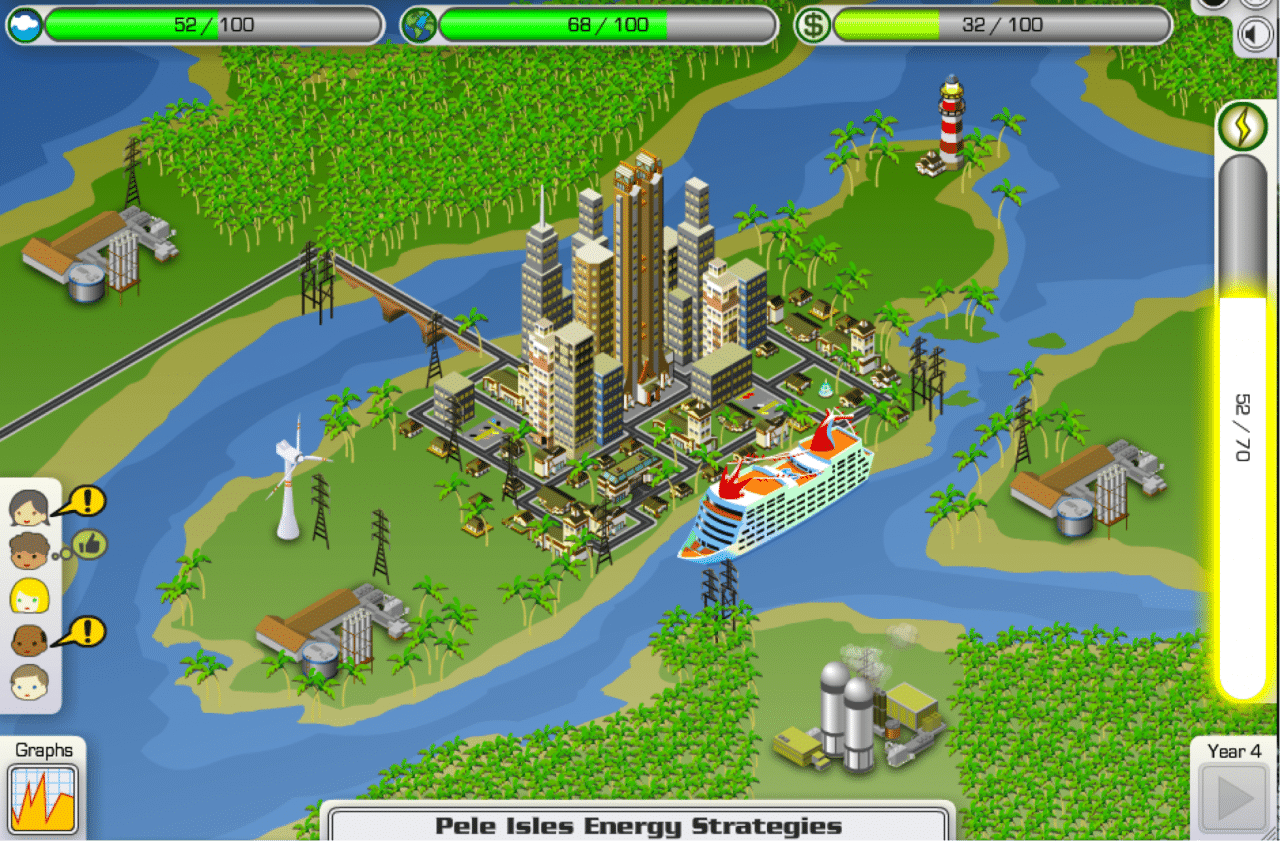Screenshot from the JASON Project's Energy City. Interest groups are on the lower left; current power level is in the glowing bar on the right.