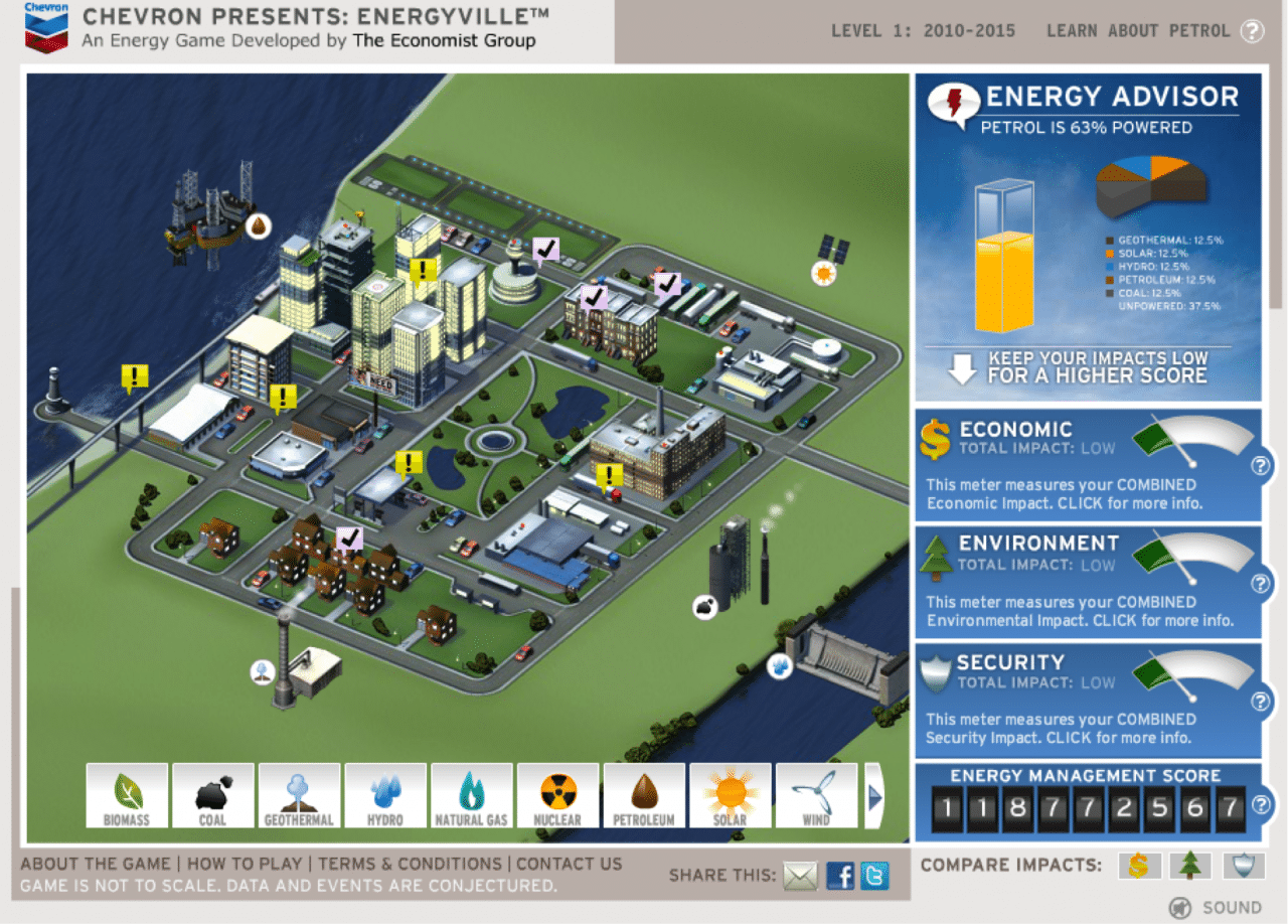 Screenshot from Chevron's Energyville. Possible energy sources line the bottom of the map; current energy levels are on the upper right.